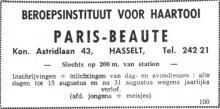 Advertentie 'Beroepsinstituut voor Haartooi Paris Beauté', Koningin Astridlaan 43 (uit: Het Belang van Limburg, 12-08-1964, p. 11)