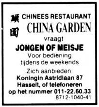 Advertentie 'China Garden', Koningin Astridlaan 87 (uit: Het Belang van Limburg, 18-08-1988, p. 24)
