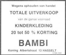 Advertentie 'Kinderkleding Bambi', Koning Albertstraat 13 (uit: Het Belang van Limburg, 28-02-1976, p. 12)