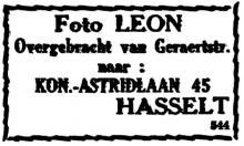Advertentie 'Foto Léon', Koningin Astridlaan 45 (uit: Het Belang van Limburg, 08-06-1945, p. 2)