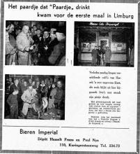 Advertentie 'Bieren Imperial - Depot Hasselt - Frans en Paul Nys', Kuringersteenweg 110 (uit: Het Belang van Limburg, 06-12-1955, p. 7)