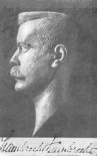 Lambrecht Lambrechts (1865-1932), bronzen buste, Lode Vleeshouwers Antwerpen; grafmonument Hoeselt (uit: Limburgse liederen verzameld door Lambrecht Lambrechts (1937), p. 3)