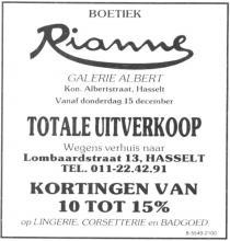 Advertentie 'Boetiek Rianne', Lombaardstraat 13 (uit: Het Belang van Limburg, 17-12-1988, p. 15)