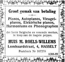 Advertentie 'Huis M. Roels-Willems', Lombaardstraat 4 (uit: Gazet van Genck en Omstreken, 27-06-1926, p. 5)