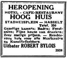 Advertentie 'Heropening Hooghuis Lombaardstraat' (uit: Het Belang van Limburg, 17-08-1947, p. 8)