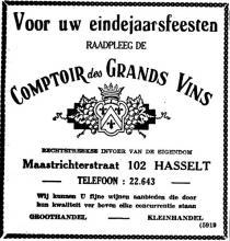 Advertentie 'Comptoir des Grands Vins', Maastrichterstraat 102 (uit: Het Belang van Limburg, 27-12-1955, p. 8)