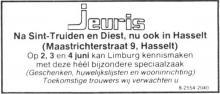 Advertentie 'Geschenken, huwelijkslijsten en wooninrichting Jeuris', Maastrichterstraat 9 (uit: Het Belang van Limburg, 19-05-1990, p. 14)