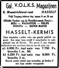 Advertentie 'Gal. V.O.L.K.S. Magazijnen', Maastrichterstraat 9 (uit: Het Belang van Limburg, 20-09-1952, p. 11)