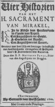 Titelblad: Pauli Matthias, 'Vier historien van het H. Sacrament van Mirakel', 1620