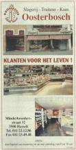 Advertentie 'Slagerij-Traiteur-Kaas Oosterbosch', Minderbroedersstraat 32 (uit: Het Belang van Limburg, 09-09-2000, p. 24)