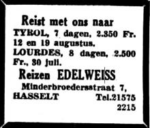 Advertentie 'Reizen Edelweiss', Minderbroedersstraat 7 (Het Belang van Limburg, 29-07-1956, p. 4)