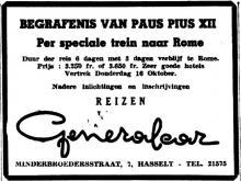 Advertentie 'Reizen Generalcar', Minderbroedersstraat 7 (uit: Het Belang van Limburg, 12-10-1958, p. 8)