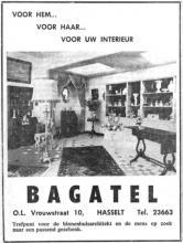 Advertentie 'Bagatel', Onze-Lieve-Vrouwstraat 10 (uit: Het Belang van Limburg, 24-12-1966, p. 6)