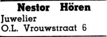 Advertentie 'Nestor Hören, juwelier', Onze-Lieve-Vrouwstraat 6 (uit: Het Belang van Limburg, 20-12-1959, p. 13)