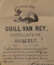 Briefhoofd 'Stokerij Guillaume Van Rey', 1886, Paardsdemerstraat (collectie Jenevermuseum Hasselt)