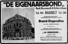 Advertentie 'De Eigenaarsbond', Ridder Portmansstraat 16 (uit: Het Belang van Limburg, 28-05-1936, p. 8)
