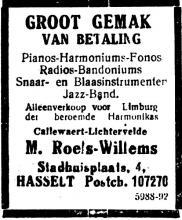 Advertentie 'Roels-Willems', Lombaardstraat 4 (uit: Het Algemeen Belang der Provincie Limburg, 15-07-1930, p. 3)