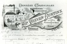 Briefhoofd 'Hip. Vreven-Buntinx', gedateerd 1898 (collectie Stadsarchief Hasselt, nr. 1219)