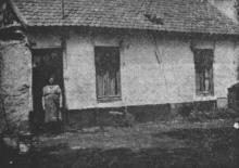 Dit is de woning van Jannes en Marianne Hendrix, Marieke staat in de deur (uit: Waar de Heksen hun Bezems huurden… / Zeven der laatste Bezembinders van Kiewit tellen samen 559 Jaar (1953), p. 1)
