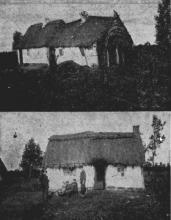 Twee typische bezembindershutten, zoals ze nog te zien waren in het Jaar 1902 (uit: Waar de Heksen hun Bezems huurden… / Architectuur en Aannemerij op de Hei (1953), p. 1)
