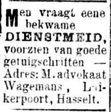 Advertentie 'advokaat Wagemans, Luikerpoort' (uit: Het  Algemeen Belang der Provincie Limburg, 21-03-1896)