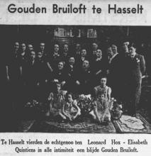 Te Hasselt vierden de echtgenoten Leonard Hox - Elisabeth Quintiens in alle intimiteit een blijde Gouden Bruiloft. (uit: Het Belang van Limburg, 25-12-1937, p. 3)