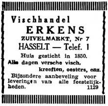 Advertentie 'Vischhandel Erkens', Zuivelmarkt 7 (uit: Het Belang van Limburg, 04-05-1946, p. 6)