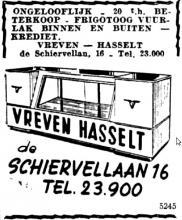 Advertentie 'Vreven', de Schiervellaan 16 (uit: Het Belang van Limburg, 08-06-1953, p. 8)