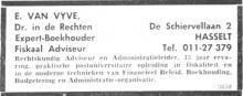 Advertentie 'Boekhouder E. Van Vyve', de Schiervellaan 2 (uit: Het Belang van Limburg, 16-11-1968, p. 24)