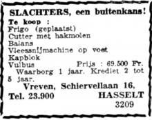 Advertentie 'Vreven', de Schiervellaan 16 (uit: Het Belang van Limburg, 08-04-1953, p. 8)