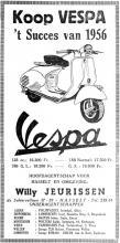 Advertentie 'Vespa - Hoofdagentschap: Willy Jeurissen', de Schiervellaan 37-39 (uit: Het Belang van Limburg, 17-03-1957, p. 18)