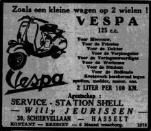 Advertentie 'Service Station Shell - Willy Jeurissen', de Schiervellaan 39 (uit: Het Belang van Limburg, 24-06-1951, p. 10)