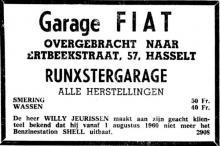 Advertentie 'Garage Fiat - Willy Jeurissen - overgracht naar Runxtergarage, Ertbeekstraat 57', de Schiervellaan 39 (uit: Het Belang van Limburg, 08-08-1960, p. 10)
