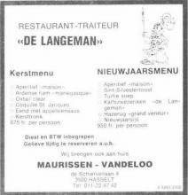 Advertentie 'Restaurant-Traiteur De Langeman', de Schiervellaan 4 (uit: Het Belang van Limburg, 20-12-1980, p. 16)