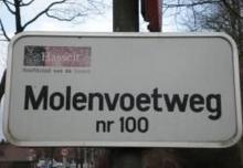 Straatnaambord Molenvoetweg
