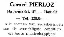 Advertentie 'Verzekeringen Gerard Pierloz', Havermarkt 27 (uit: Nieuw Limburg, 1951)
