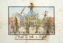 Stadhuis, Groenplein, einde 18de eeuw, pentekening, Willem-Filip-Frans-Jozef de Corswarem (1759-1839) (collectie Rijksarchief Hasselt)