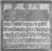 Grafsteen 'goudsmid Hendrik van Tongeren', in Sint-Dimpnakerk Geel (uit: Hasselts Zilver (1996), p. 53)