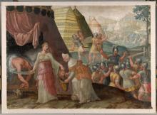 Judit bergt het hoofd van Holofernes in de etenszak van Abra